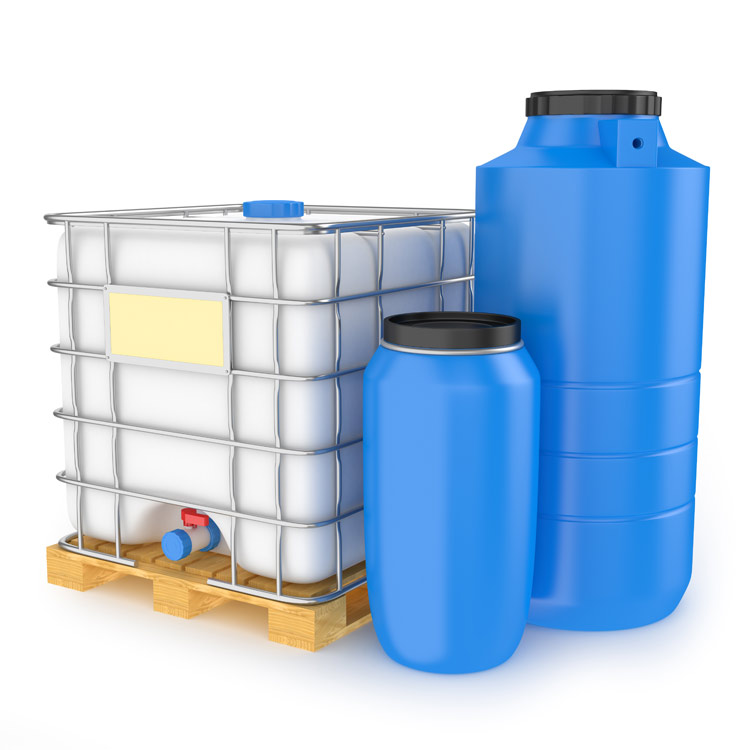 Reservoirs can be food grade items. Larger, cheap options are blue 55-gallon drums and white 250 gallon drums because they are used to ship food grade items in bulk and sell cheap when emptied.